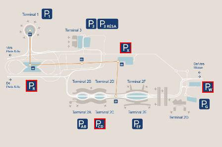plan parkings Terminal 2D aéroport Roissy Charles de Gaulle