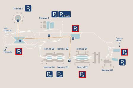 plan parkings Terminal 2E aéroport Roissy Charles de Gaulle