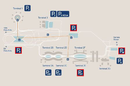 plan parkings Terminal 2F aéroport Roissy Charles de Gaulle