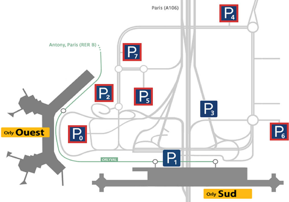 plan parkings Terminal Ouest W à l'aéroport Paris-Orly
