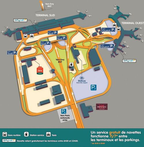 plan accès aéroport Paris-Orly