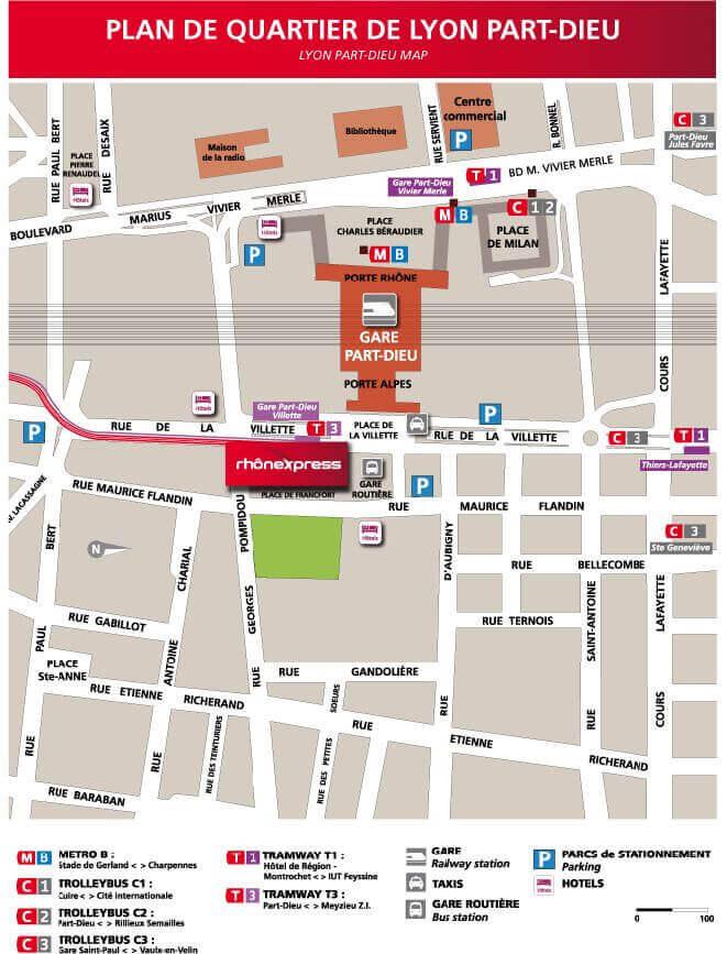 plan accès gare Lyon Part-Dieu