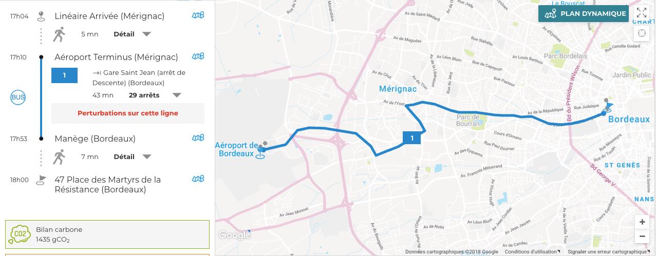 Itinéraire Lianes 1+ - aéroport Bordeaux Mérignac