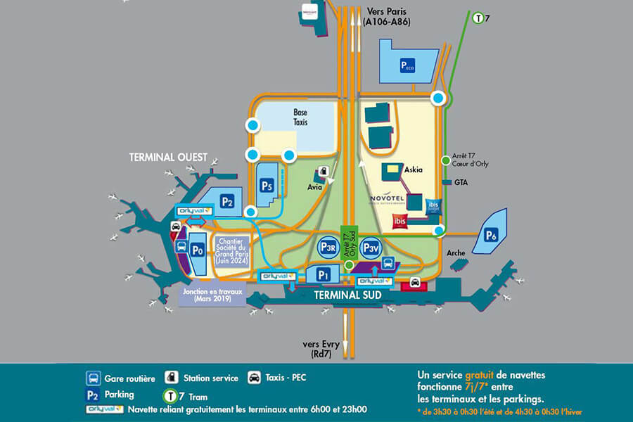 Plan global de l'aéroport Paris-Orly