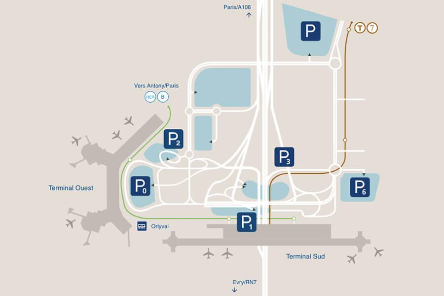 Plan de l'accès aux parkings de l'aéroport de Paris-Orly