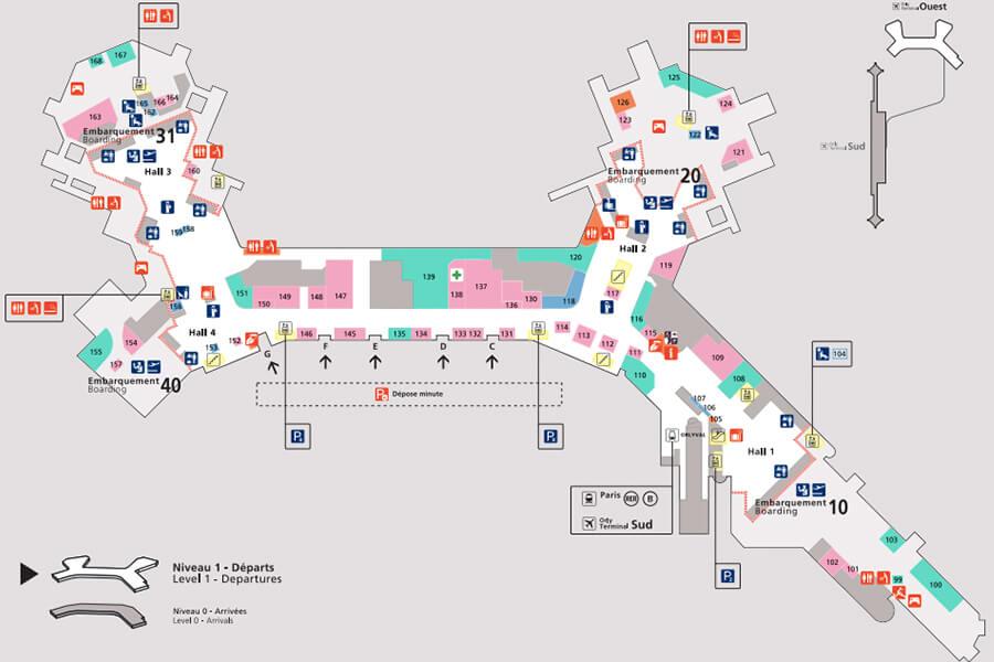 ector-le-voiturier-a-l-aéroport-d-Orly-et-qui-va-au-parking-a-votre-place-plan-de-l-accès-au-niveau-1-du-terminal-ouest-de-l-aeroport-de-Paris-Orly